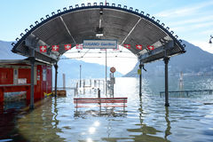 The inundation of lake Lugano Royalty Free Stock Image