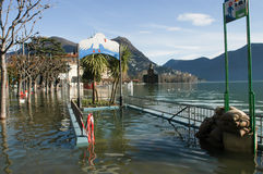 The inundation of lake Lugano Royalty Free Stock Photo