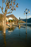 The inundation of lake Lugano Royalty Free Stock Photos