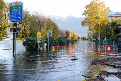 Inundation of lake Maggiore at Locarno Royalty Free Stock Photos
