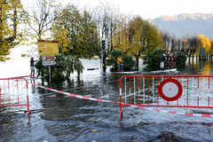 Inundation of lake Maggiore at Locarno. On Switzerland Royalty Free Stock Photos