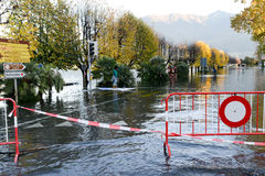 Inundation of lake Maggiore at Locarno. On Switzerland Stock Image