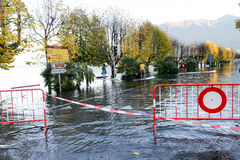 Inundation of lake Maggiore at Locarno. On Switzerland Royalty Free Stock Images