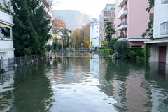 Inundation of lake Maggiore at Locarno. On Switzerland Stock Photos