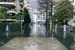 Inundation of lake Maggiore at Locarno. On Switzerland Royalty Free Stock Photo