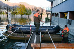 Inundation of lake Maggiore at Locarno Stock Images