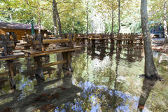 Inundation. Outdoor part of a restaurant in flood in Croatia Royalty Free Stock Photography