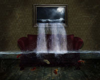 Inundation. A room with a picture of the sea and the water falling on the couch Stock Photography