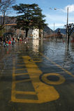 Inundation at the streets of Lugano. On the italian part of Switzerland Royalty Free Stock Photography