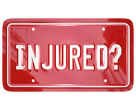 Inured License Plate Car Accident Lawyer Attorney Lawsuit Stock Images