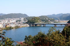 Inuyama Bridge. Across the Kiso River, viewed from Inuyama Castle, Japan, in the morning Stock Image