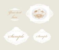Inv. Set of filigree wedding labels Stock Photos
