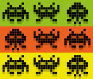 Invaders Style Pix Colored Pattern. Space invaders Royalty Free Stock Photo