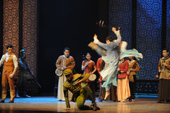 By the invading Japanese Army stress musician-The third act of dance drama-Shawan events of the past Stock Photos