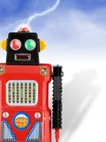 Invading Red Tin Toy Robot!. Red and Black tin toy robot and lightning. Clipping path included Stock Image