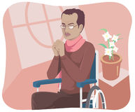 Invalid. A disable man sit mournfully on his wheelchair Stock Photography