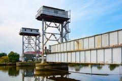 Invalid lifting railway bridge Royalty Free Stock Images