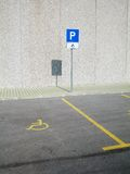 Invalid parking place. Parking place for invalid person at daylight Royalty Free Stock Photography