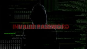 Invalid password, unsuccessful attempt to crack system, disappointed criminal. Stock footage stock video footage