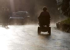 Invalid in the Rain. Contrejour lighting Stock Photo