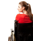 Invalid woman on the wheelchair Stock Photos