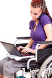 Invalid young woman on wheelchair Royalty Free Stock Photo