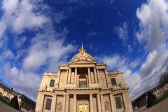 The Invalides museum. In Paris  is the burial place for many great French soldiers, including Napoleon. Shot with a fish eye Stock Photography