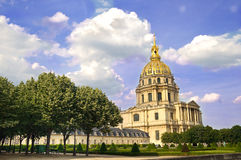 Invalides in Paris. A church looking building in a park Stock Photography