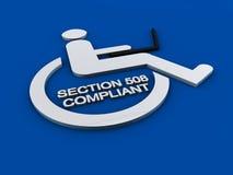 Invalidité d'accessibilité de la section 508 Images libres de droits