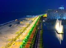 Invallning av Batumi på natten fotografering för bildbyråer