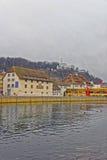 Invallning av den Aare floden i Solothurn av Schweiz Royaltyfri Foto