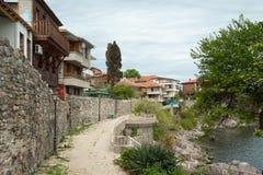 Invallning av den gamla delen av bulgaren Sozopol Arkivfoto