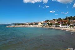 Invallning av den Nea Skioni byn, Grekland royaltyfria foton