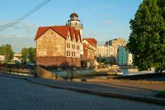 Invallning av fiskeläget Kaliningrad royaltyfri fotografi