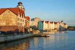 Invallning av fiskeläget Kaliningrad arkivfoton