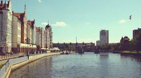 Invallning av fiskeläget Kaliningrad royaltyfria foton