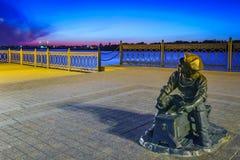 Invallning av Volgaet River, astrakan, Ryssland royaltyfri fotografi