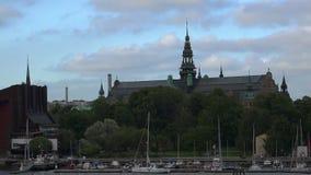 Invallning och pir i mitten av Stockholm sweden lager videofilmer