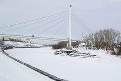 Invallningen av staden av Tyumen i vintertid Ryssland Arkivbild
