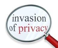 Invansion de la lupa de la privacidad redacta la información privada Imagen de archivo libre de regalías