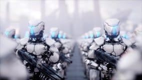 Invasão de robôs militares Conceito realístico super do apocalipse dramático futuro rendição 3d ilustração stock