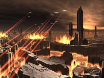 Invasão do UFO da cidade futurista Imagens de Stock Royalty Free