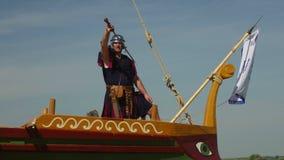 Invasão marinha romana ao longo do Danube River video estoque