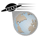 Invasión de la nave espacial Imágenes de archivo libres de regalías