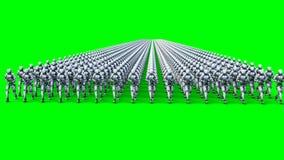 Invasión de robots militares con el arma Robots que marchan Cantidad verde de la pantalla 4k ilustración del vector