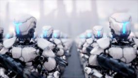 Invasión de robots militares Concepto realista estupendo de la apocalipsis dramática futuro animación 4K stock de ilustración