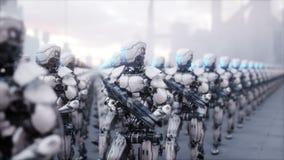 Invasión de robots militares Concepto realista estupendo de la apocalipsis dramática futuro animación 4K