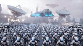 Invasión de robots militares Concepto realista estupendo de la apocalipsis dramática futuro representación 3d Imagen de archivo libre de regalías