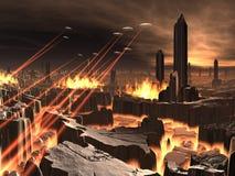 Invasión del UFO de la ciudad futurista ilustración del vector