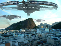 Invasión del UFO de Rio De Janeiro Foto de archivo